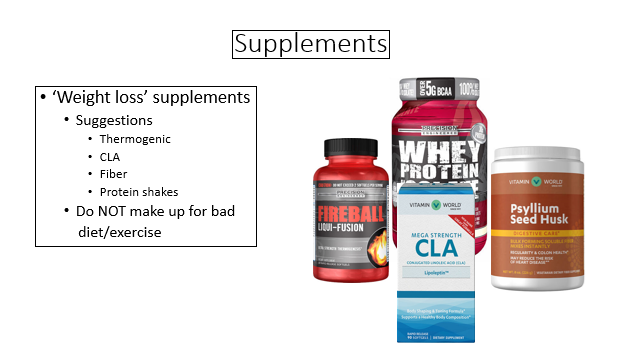 possible supplements for weight loss plan